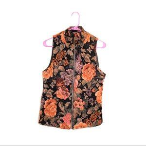 VINTAGE• black & floral vest